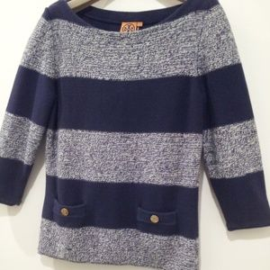 Tory Burch Striped Sweater Pullover 3/4 Sleeve Lg